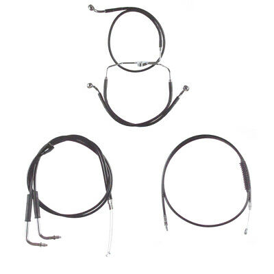 "Black +14"" Cable & Brake Line Bsc Kit 1996-2006 Harley-Davidson Touring w/Cruise"