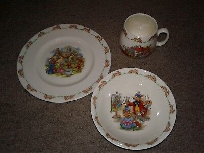 Royal Doulton Bunnykins Mug, Cereal Bowl & Child's Plate Vintage Bone China