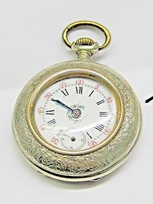 Antique No Name White Metal Pocket Watch, 47 mm in size. Fancy Porcelain Dial