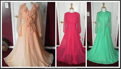 ~ Lot of 3 Vintage 1970's Chiffon Overlay & Pleated Long Dresses / Gowns 36-38 ~