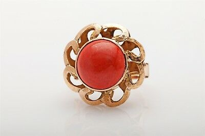 Antique 1940s RETRO 10ct Natural CORAL SUN 14k Yellow Gold Ring COOL!!! 9g