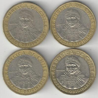4 DIFFERENT BI-METAL 100 PESO COINS from CHILE (2001, 2005, 2006 & 2010)