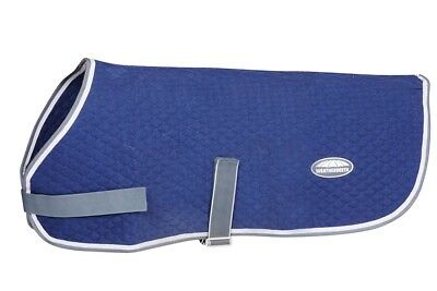 WEATHERBEETA QUILTED DOG COAT/RUG in Navy/Grey/White, Navy/Silver