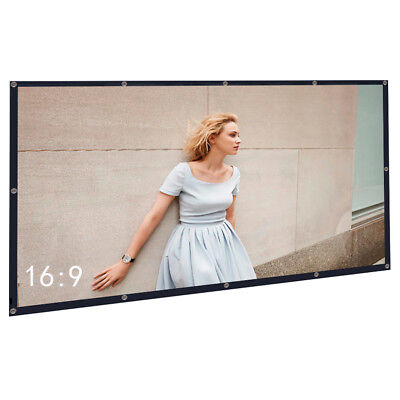 "100"" Inch 16:9 PVC Portable Indoor Outdoor Projector Screen for Movie, Roll Easy"