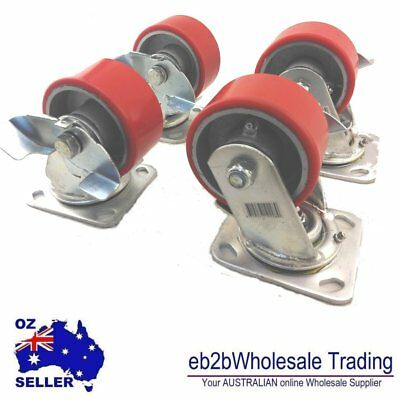 "4 X 4"" Caster Castor Polyurethane PU Wheels heavy duty Swivel Brake load 1000kg"
