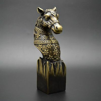 China Exquisite Old Handwork  Brass Horse Seal OfficeHome Decoration Paperweight