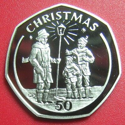 1991 Gibraltar 50 Pence Christmas Carolers Proof Diamond Finish Pobjoy Mint Rare