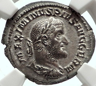MAXIMINUS I Thrax 236AD Rome Authentic Ancient Silver Roman Coin NGC MS i68401