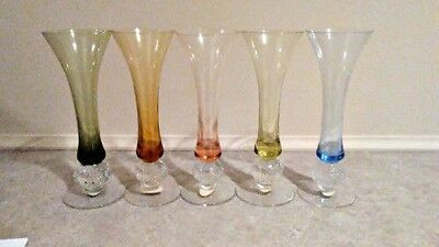 Blown Glass Colored Vases - Set of 5 - Home Decor Accessaries