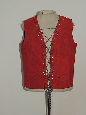 1970's Rust Suede Western Look Chain Lace UP Vest w Bells SM