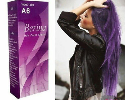 Berina A6 Professional Permanent Hair Dye Cream Violet Purple Color