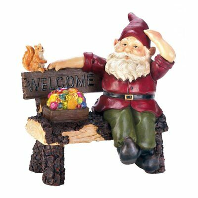 Solar Lights Outdoor Statues, Gnome On Welcome Bench Garden Solar Yard Figurines