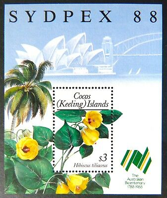 1988 Cocos Keeling Island Stamps - Flora Definitives-SYDPEX 88 - Mini Sheet MNH
