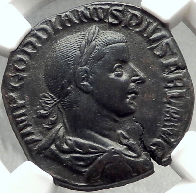 GORDIAN III 240AD Rome Sestertius Authentic Ancient Roman Coin SOL NGC i68451