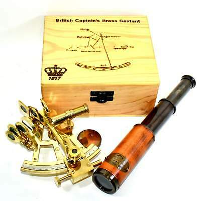 """ANEBrass English Navy Sextant 4"""" w/ Wooden Case Antiqued Nautical Astrolab  A316"""