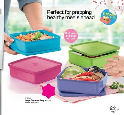 New Tupperware Large square A way bento square 620ml x 4