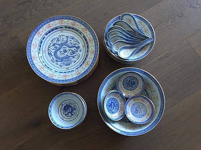 Vintage Chinese Porcelain Dinnerware Set