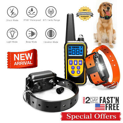 Outdoor Wireless Dog Training Shock 2 Collar Pet Electric Trainer System No Bark