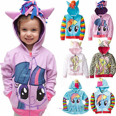 Baby Girls My Little Pony Hoodie Zip Up Jacket Kid Boys Jumper Coat Size 0 - 8 Y