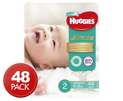 Huggies Ultimate Infant Size 2 4-8kg Nappies 48pk
