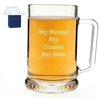 Personalised Engraved Pint Beer Glass Tankard 18th 21st 30th 50th Birthday Gift