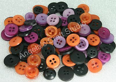 100 SMALL HALLOWEEN (Black Orange Purple) Buttons New - Great for Craft projects