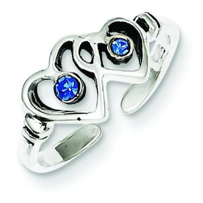 Sterling Silver Cubic Zirconia Heart Toe Ring