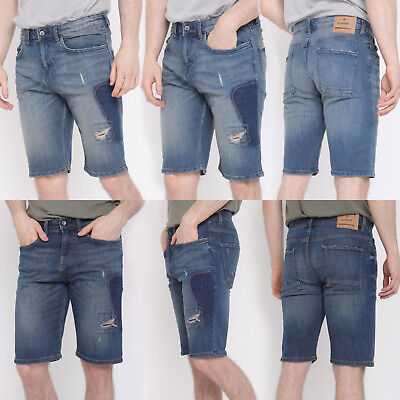 Mens Denim Shorts Holiday Knee Length Regular Fit Stretch Distressed Ripped