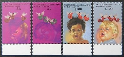 1991 Cocos Keeling Island Stamps - Christmas - Set of 4 - Tabs MNH