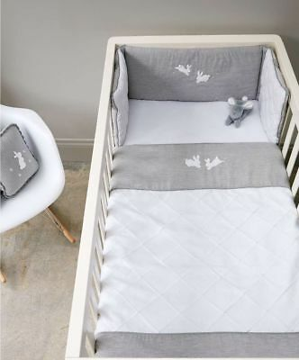 Mamas & Papas - Welcome To The World - Cotbed Quilt & Bumper Set - Grey