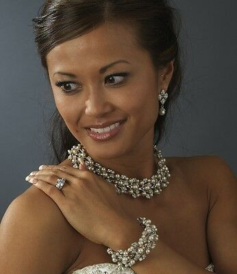 Luxurious GOLD/IVORY PEARL & RHINESTONE Necklace and Earring Set