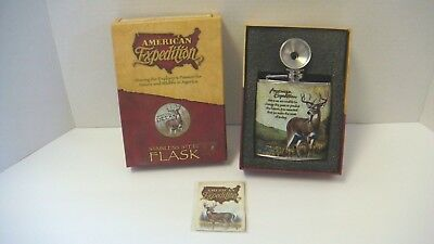 New American Expedition Whitetail Deer Stainless Steel Flask Funnel Box