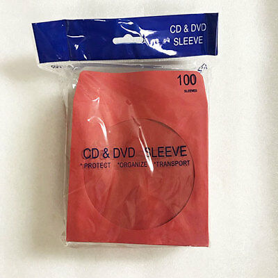 CD CDR DVD DVDR 100 Paper Envelope With Window Red