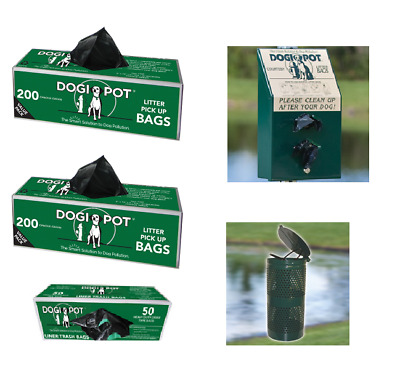 NEW Dogipot Pet Waste Station with STEEL Receptacle and Bag Dispenser, - NO SIGN