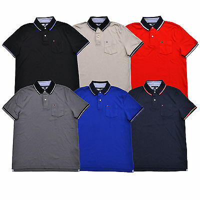 Details about Tommy Hilfiger Mens Polo Shirt Custom Fit Interlock Knit Logo Short Sleeves New