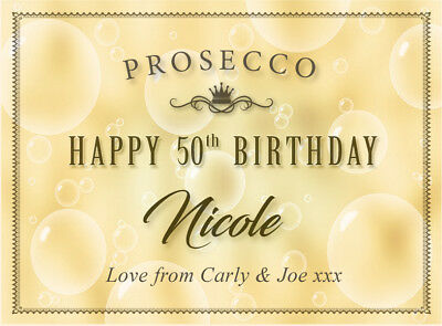 HAPPY BIRTHDAY Personalised Prosecco Bottle Label (any age) 18th 21st 50th etc