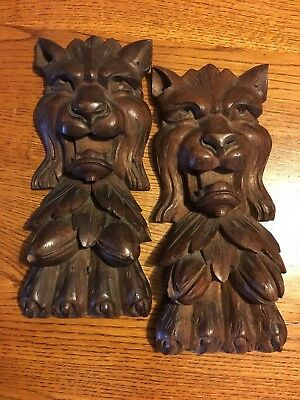 Antique Carved Redwood Lion Corbels Architectural Salvage