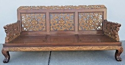 MCM Vintage Asian Oriental Hand Carved Sofa Johnson's Carved Furniture