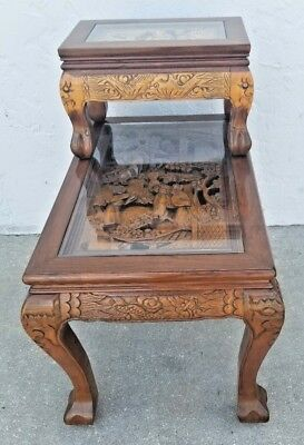 MCM Vintage Asian Oriental Hand Carved End Table Johnson's Carved Furniture Co.