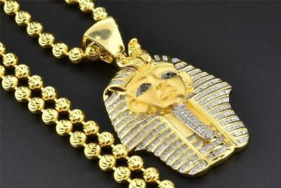 Real Diamond .925 Sterling Silver King Tut Tutankhamun Pendant & Chain