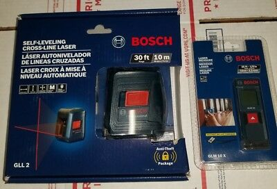 Bosch GLL 2 Self-Leveling Cross-Line Laser Level with Mount + GLM 10 X Laser M.