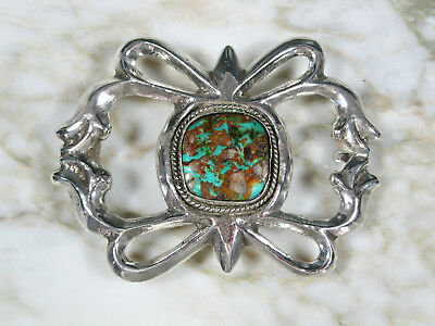 Lg Old Pawn American Southwest Sand Cast Sterling Silver Turquoise Belt Buckle