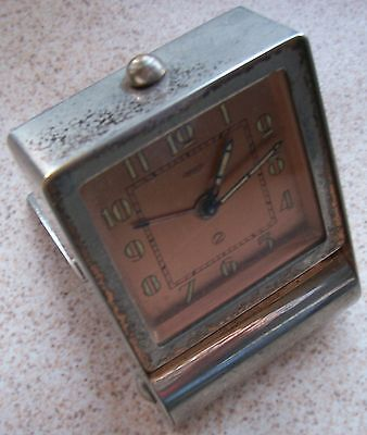 Jaeger LeCoultre 2 day's alarm travel clock 83 x 58 x 23 mm. aside