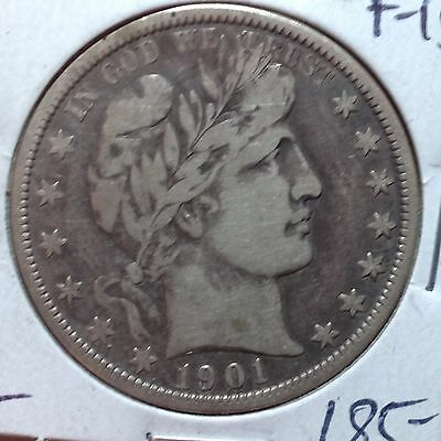 1901-O    F-VF    Barber Half Dollar   LIBTY and part ER  Very Tough Date