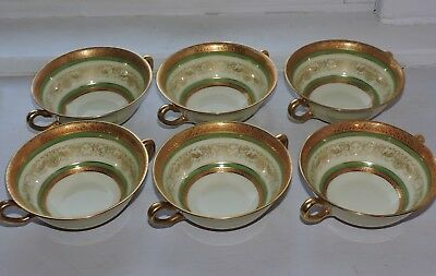 Black Knight Hohenberg Gold Encrusted Set of 6 Soup Bowls w/o Underplates