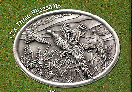 Pewter Belt Buckle with Three Pheasants New in Box