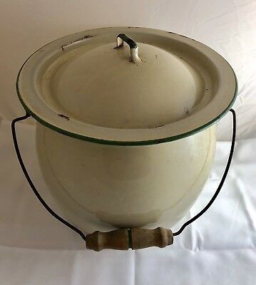 Cream Green Trim Enamel Chamber Pot Slop Bucket Wire Handle Wood Grip with Lid