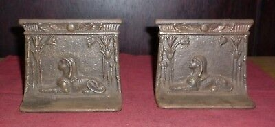 Pair Art Deco Egyptian Revival Bronze Bookends Great Condition