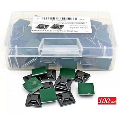 IExcell Cable Ties 100 Pcs Black 19 Mm 19mm 4mm Adhesive Mount Base Holders With