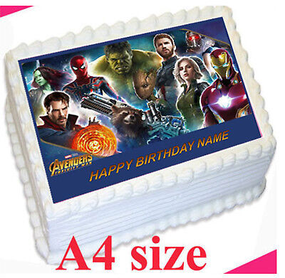 AVENGERS INFINITY WAR Premium or CARD Edible rice/wafer CAKE topper PERSONALISED